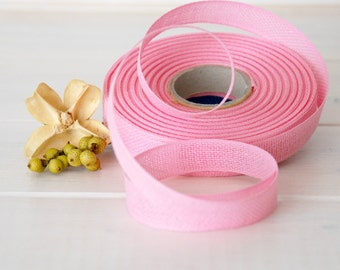 "Pink Cotton Ribbon - 3 or 6 Yards of 100% Cotton Ribbon - 1/2"" wide - Pastel Pink Ribbon - Buy More and Save - Eco Friendly Cotton Ribbon"