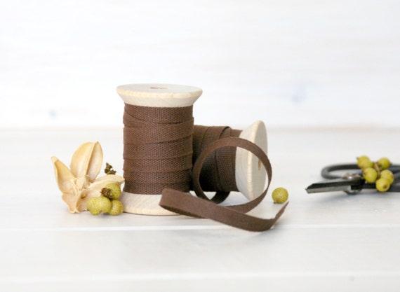 "Chocolate Cotton Ribbon - 5, 20 or 109 Yards - 100% Cotton Ribbon - 1/4"" Wide - Brown Color Ribbon - Eco Friendly Ribbons - Buy Bulk Ribbons"