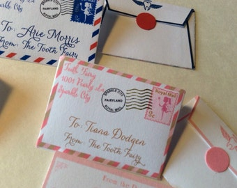 ROYAL Set of 10 Tiny Letters from Tooth Fairy Airmail Letters ROYAL POSTMARK  Choice of colors