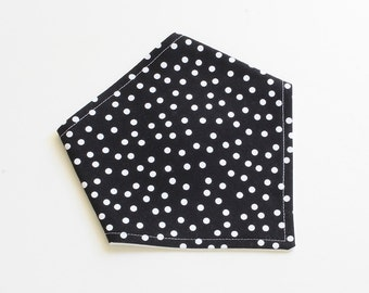 Adjustable Bandana Bib || Dotty Black and White