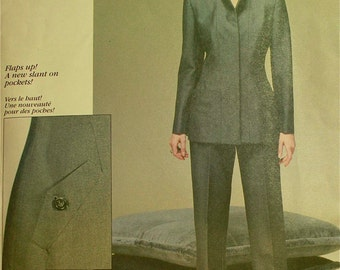 Jacket & Pants by Oscar de la Renta -1990's -  Vogue American Designer Pattern 2162   Uncut   Sizes 8-10-12  Bust 31.5 - 32.5 - 34""