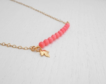 Pink coral necklace, Gold leaf charm, Pink and gold necklace
