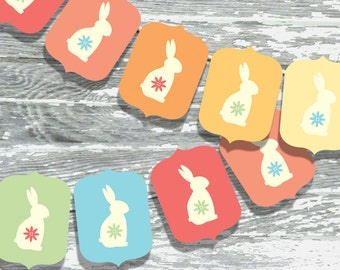 DIY Bunny Garland Printable Banner in Rainbow Pastel Colors for Easter INSTANT DOWNLOAD