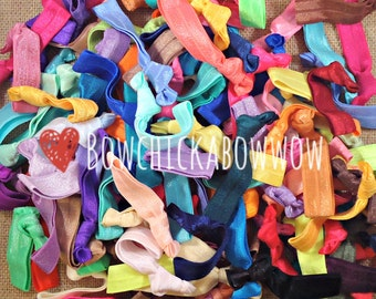 100 Hair Ties, Gift for Her - No Crease Hair Bands, Emi Jay - BULK 100pc Solid Colors - Cheer, Team Gift - Girls, Teens