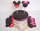 12 Mouse Party Cupcake Toppers with Pink or Red bow READY To SHIP by FeistyFarmersWife