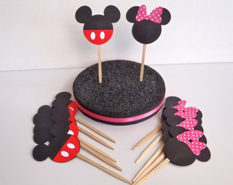 12 Mickey Mouse Cupcake Toppers with Pink or Red bow by FeistyFarmersWife