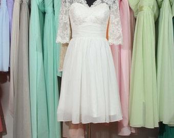 Beach Wedding Dress, Long Sleeves Lace Short Wedding Dress, V-neck Chiffon Bridesmaid Dress