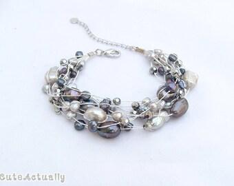 Silver gray black freshwater pearl bracelet with crystal on silk thread, Multistrand bracelet