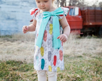 Feathers Coral Lime Turquoise Gray Aqua Dot Bow Peasant Dress - Baby Girl Toddler