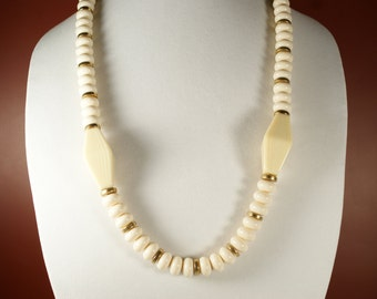 Off White Beaded Necklace, Vintage Napier French Faux Ivory Celluloid Necklace