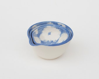 SALE! hand-painted ikat prep bowls in cornflower blue