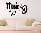 Music Wall Decal Wall Quote Vinyl Sticker Art Home Black music note speaker (K1)