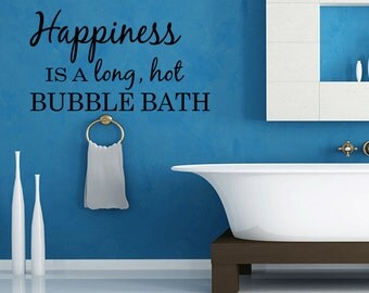 Wall Quotes Happiness Is A Long Hot Bubble Bath Vinyl Wall Decal Quote Removable Bathroom Wall Sticker Home Decor (C56)