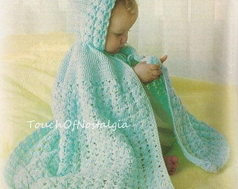 Crochet HOODED Cape  PIXIE  Vintage Crochet Pattern -  Lacy Hooded Carrying Cape With PIXIE Hood / Unusual Cross-Stitch Pattern - Adorable