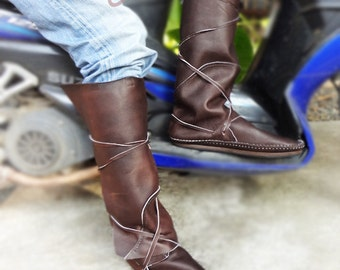 SALE PRICE! Knee High Boots, Moccasins, Moccasin Boots, Leather Moccasins, Mens Moccasins, US Mens Size 10, Mens Leather Boots, Hippie Boots