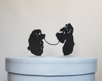 Wedding Cake Topper - Lady and the Tramp silhouette wedding cake topper