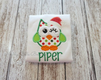 Cute Christmas Owl Appliqued Shirt - Embroidered Shirt, Personalized, Monogram, Holiday, Christmas, Owl, Christmas Owl, Girls, Baby, Toddler