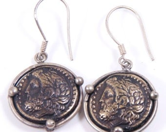 Ancient Coin Earrings - Zeus, Greek Sky God - Sterling Silver