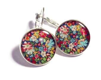 Liberty Floral on Blue  Leverback Resin Earrings 16mm