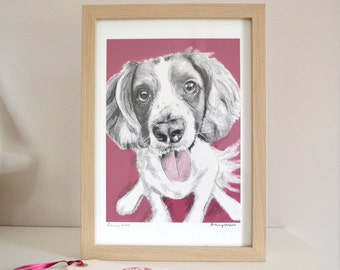 SALE Pleased to see you, Springer Spaniel A4 Print, Giclee printed on 255gsm Somerset Velvet Watercolour paper by Bethany Moore