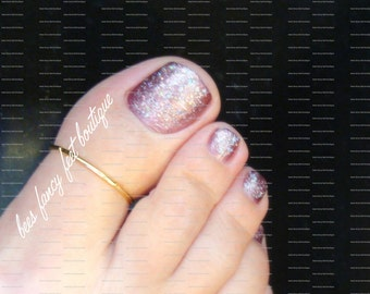 Big Toe Ring - Gold - Noodle - Stretch Bead Toe Ring