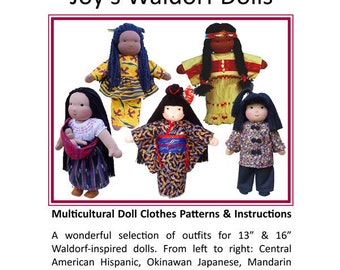 "Multicultural Doll Clothes Patterns for 13"" & 16"" Dolls  - Joy's Waldorf Dolls"