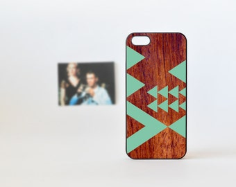 Geometric iPhone 5 Case - Wood Print iPhone  4 Case - iPhone 4 / iPhone 5 - Mint Green Geometric iPhone Case - Triangules - Wood iPhone Case