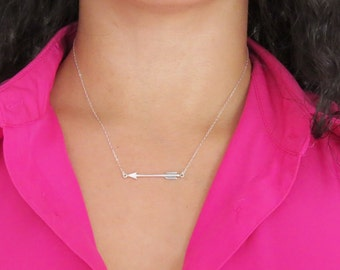 Sterling Silver Arrow Necklace, Silver Floating Arrow on thin Silver Chain, Sideways Arrow Necklace, Graduation