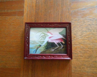 Miniature Audubon Roseate Spoonbill print for dollhouse