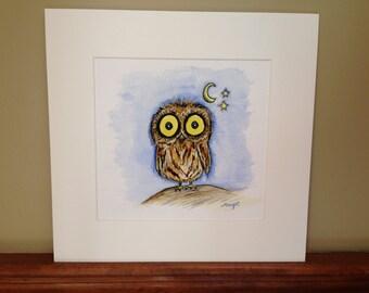 Night Owl. Print w/ Mat