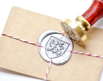 B20 Wax Seal Stamp Heraldic Lion Passant with Classic Shield