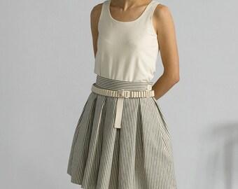 Indigo Stripe Pleat Skirt