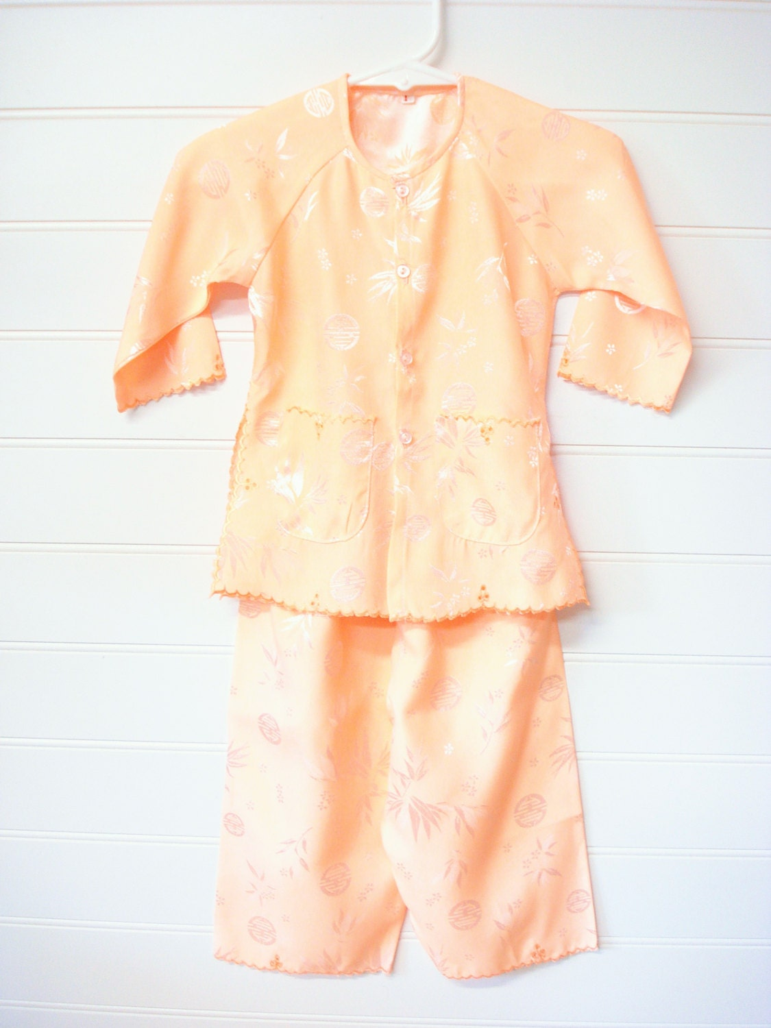 Vintage Baby Clothes Baby Girl Pajama Set in Peach Silky