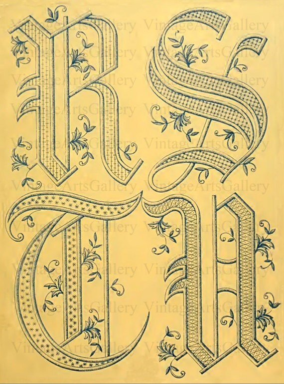 Antique french alphabet letters monogram by vintageartsgallery for Antique letters