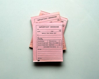 While You Were Out...Vintage Note Pad, Pink Paper