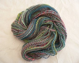 Handspun  thick and thin OoaK yarn, Morning Meadow 90 yds
