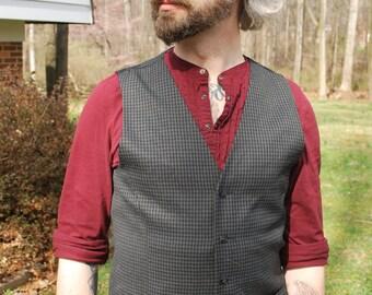Gray & Black Check Waistcoat, Slim Fit