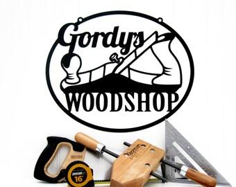 Custom First Name Woodshop Metal Sign - Black, 18x15, Personalized Sign, Custom Sign, Metal Sign, Gifts for Him