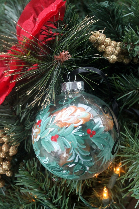 Christmas Ornament Hand painted personalized with initial