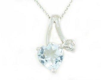 Aquamarine & Diamond Heart Pendant .925 Sterling Silver