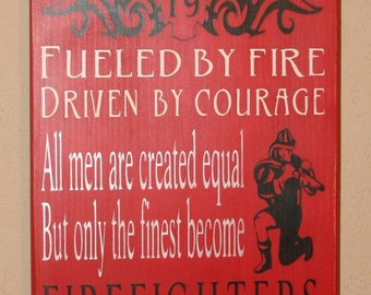 Firefighter Subway Sign, Firefighter Decor, Distressed Wall Decor, Custom Wood Sign, Firefighter, Typography Word Art - Red