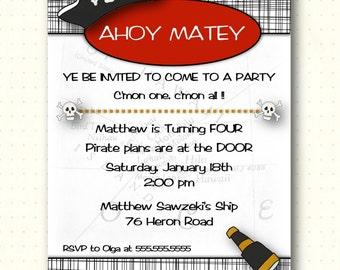 Children's Birthday Invitation, party, pirate, boy, 2nd, 3rd, 4th, 5th, 6th, red, black, invite, digital, printable, G1424