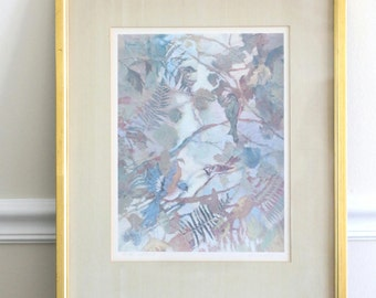 """Faith is Wings - Vintage Signed Limited Edition Art Print """"Birds"""" by Diane Tygier in Gold Frame"""