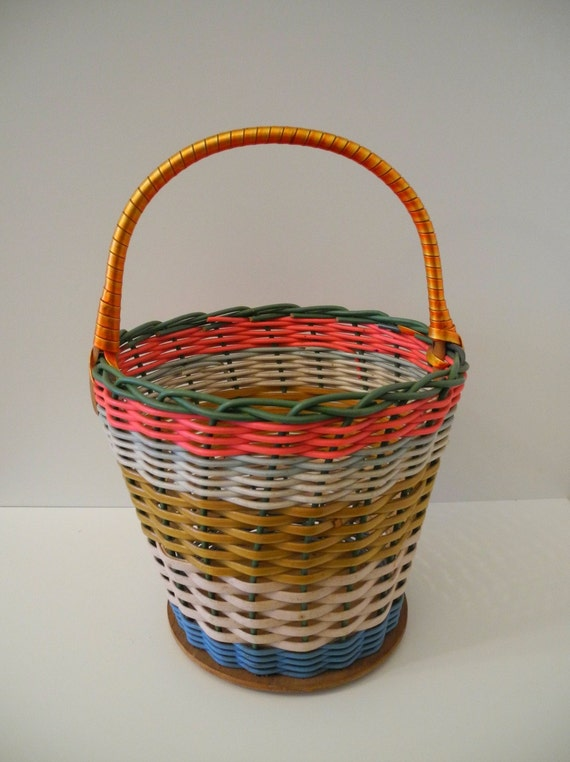 Tiny Wicker Basket With Handle : Vintage floral basket rattan small with handle by