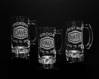 Best Man Mug Set - Set of 3 Personalized Wedding Mug Gifts - DEEP Etched Mugs - Name, Title, Date - Best Man Gift, Wedding Beer Mug, Father