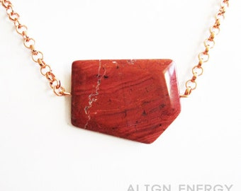 Warrior Pendant from Align Energy with Natural Red Jasper Gemstone /// Align Energy Copper Collection /// Pure Copper Jewelry