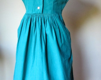 Vintage 50s Green Cotton and Crochet dress