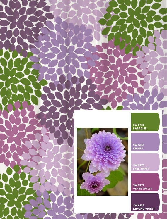 Shower Curtain in Purple and Lavender Inspired Floral Standard and ...