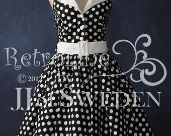 Polka dot printed rockabilly dress. Designed handmade 50's Retro inspired halterneck M / L