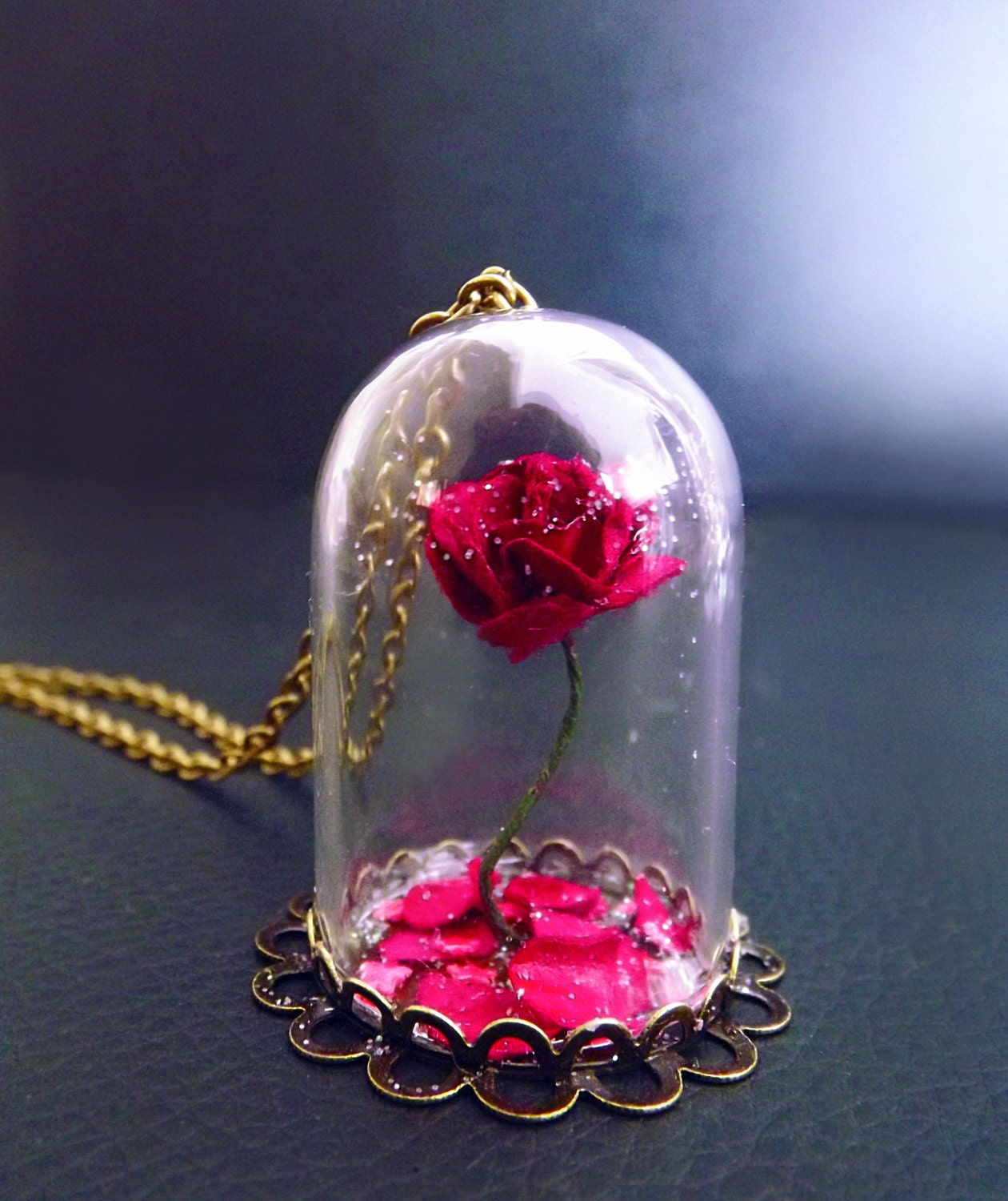 Beauty and the beast rose rose vial necklace snowglobe for Disney beauty and the beast jewelry